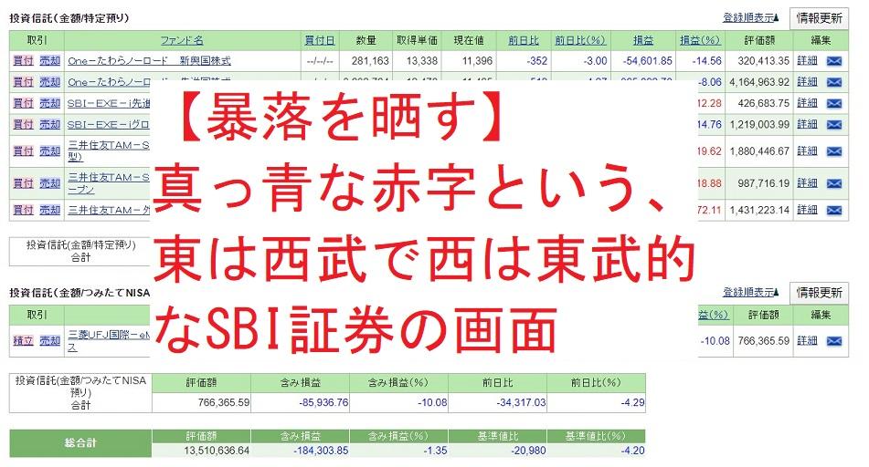 【暴落を晒す】真っ青な赤字という、東は西武で西は東武的なSBI証券の画面