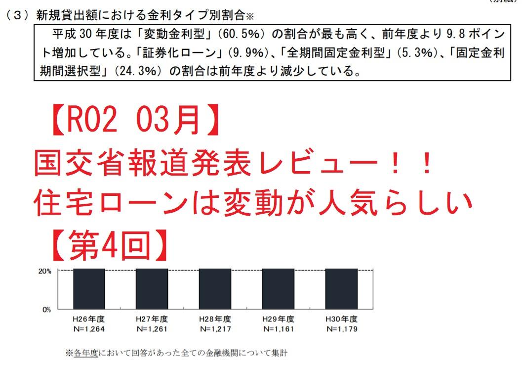 【R02 03月】国交省報道発表レビュー!! 住宅ローンは変動が人気らしい【第4回】