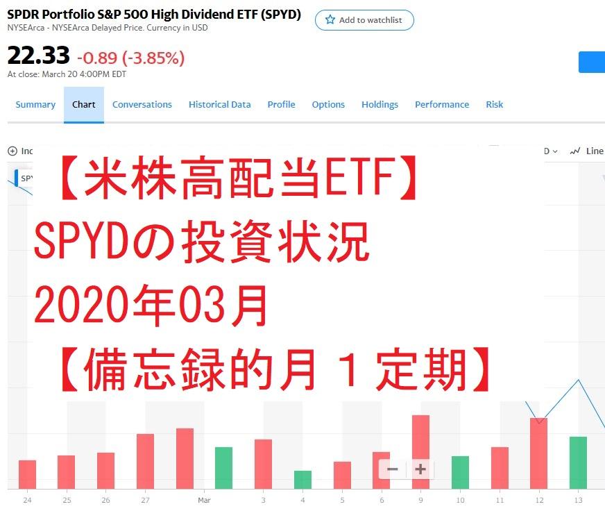 【米株高配当ETF】SPYDの投資状況202003【備忘録的月1定期】