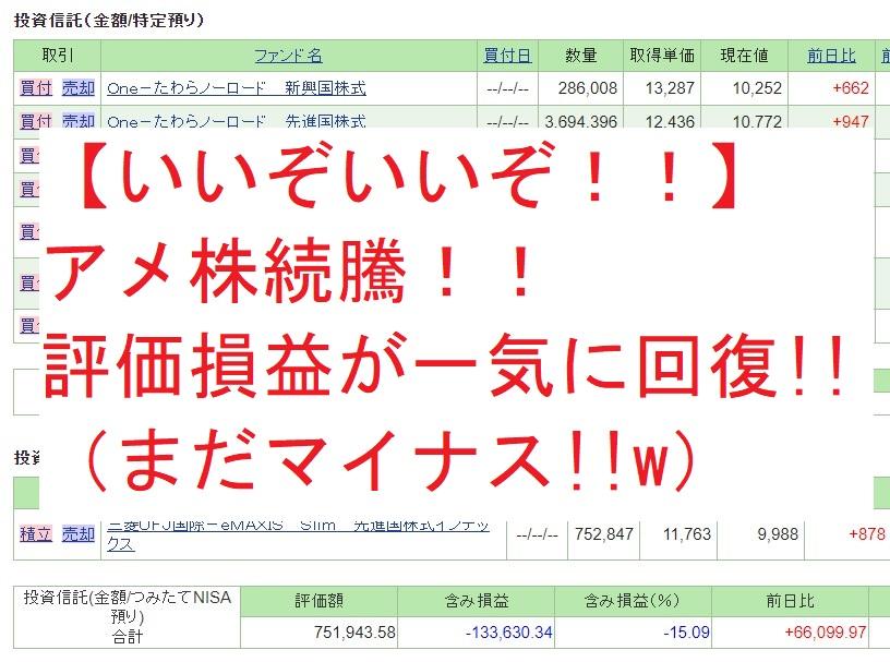【いいぞいいぞ!!】アメ株続騰!!評価損益が一気に回復(まだマイナス)