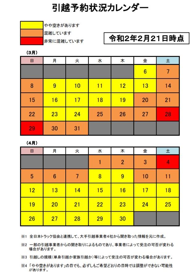 引越予約状況カレンダー20200310