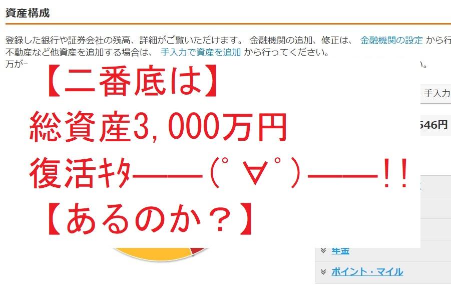 【二番底は】総資産3,000万円復活キタ――(゚∀゚)――!!【あるのか?】