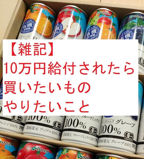 【雑記】10万円給付されたら 買いたいもの・やりたいこと