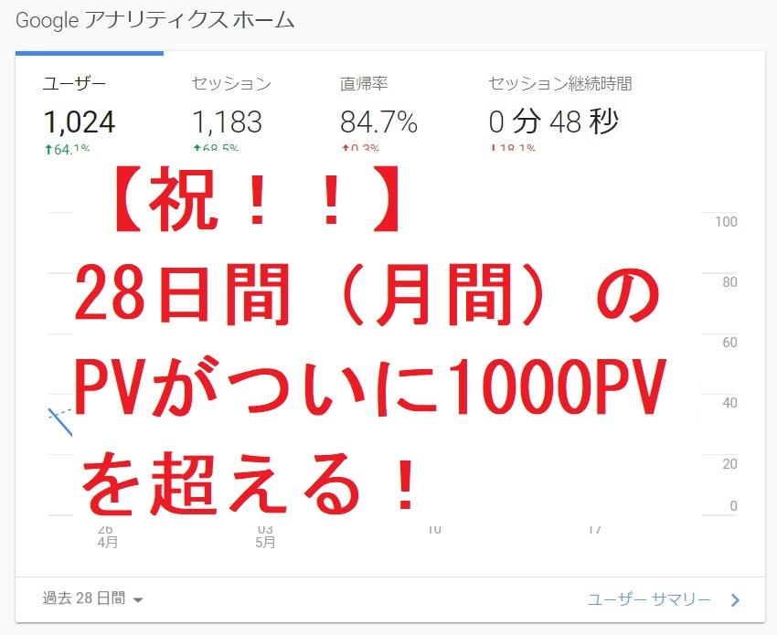 【祝!!】28日間(月間)のPVがついに1000PVを超える!