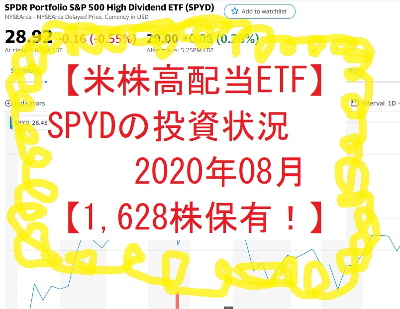 【米株高配当ETF】SPYDの投資状況202008【1,628株保有!】
