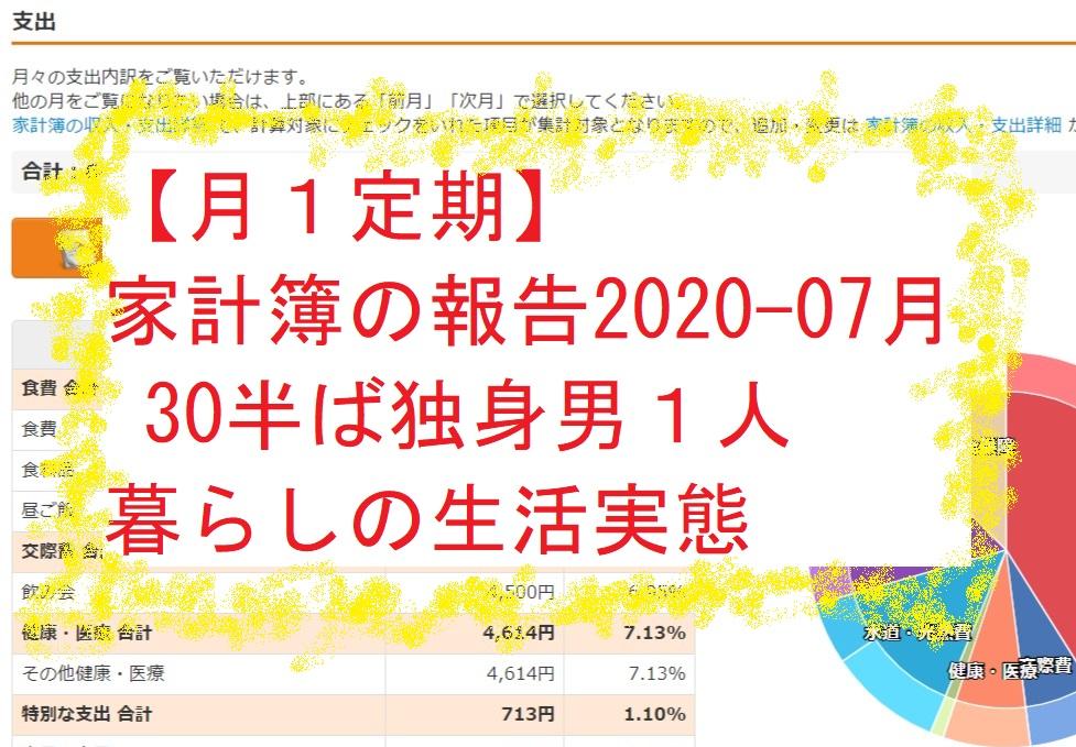 【月1定期】家計簿の報告2020-07月 30半ば独身男1人暮らしの生活実態