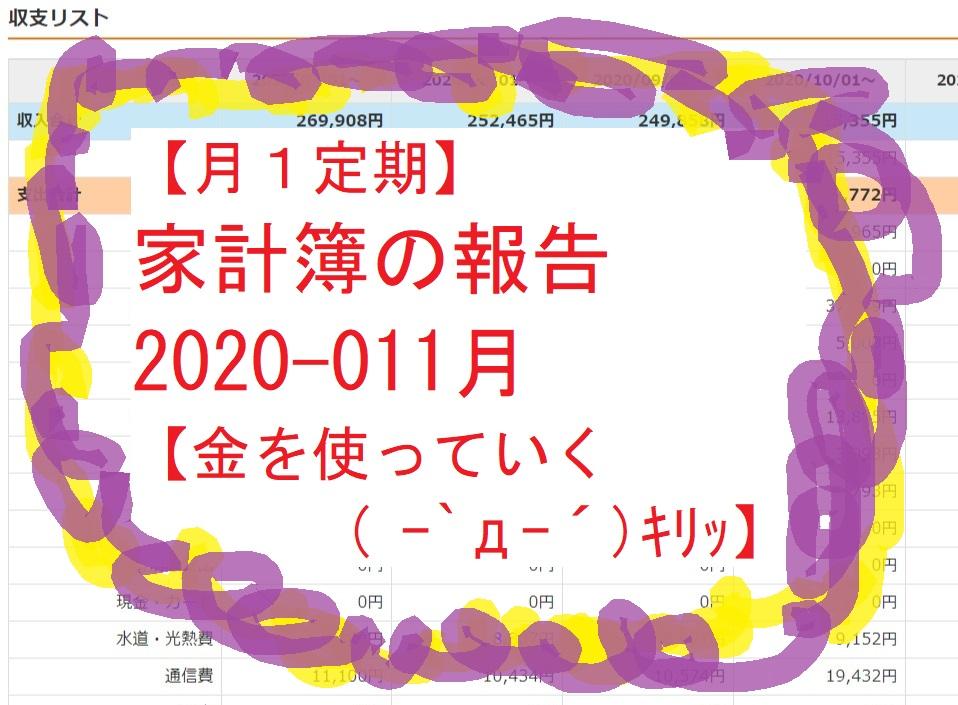 【月1定期】家計簿の報告2020-011月 【金を使っていく( ー`дー´)キリッ】