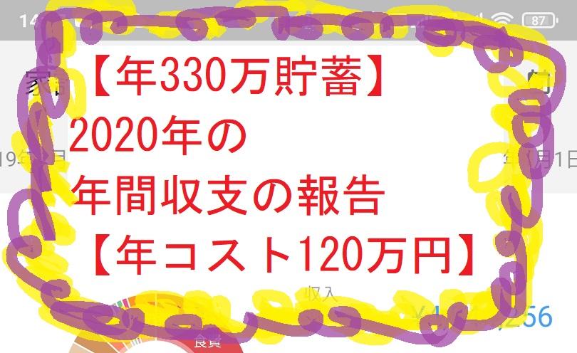 【年330万貯蓄】2020年の年間収支の報告【年コスト120万円】
