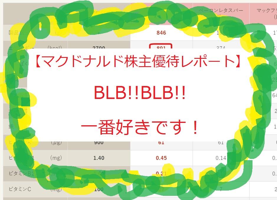【マクドナルド株主優待レポート】BLB!!BLB!!一番好きです!