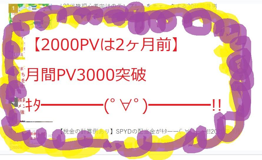 【2000PVは2ヶ月前】月間PV3000突破キタ━━━━(゚∀゚)━━━━!!