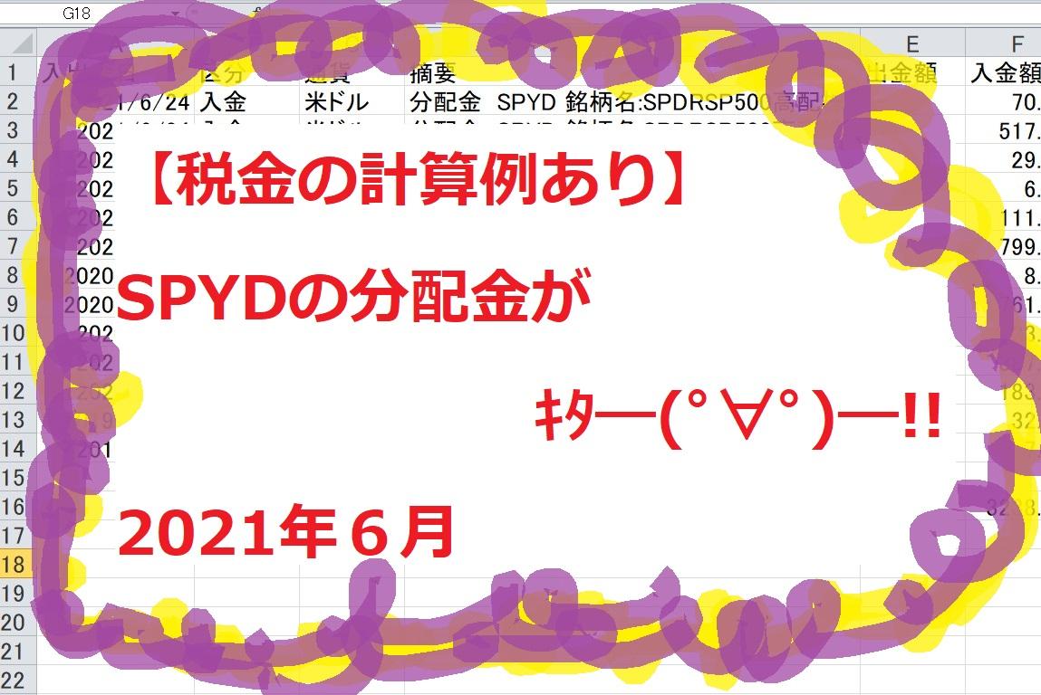 【税金の計算例あり】SPYDの分配金がキタ―(゚∀゚)―!!2021年6月