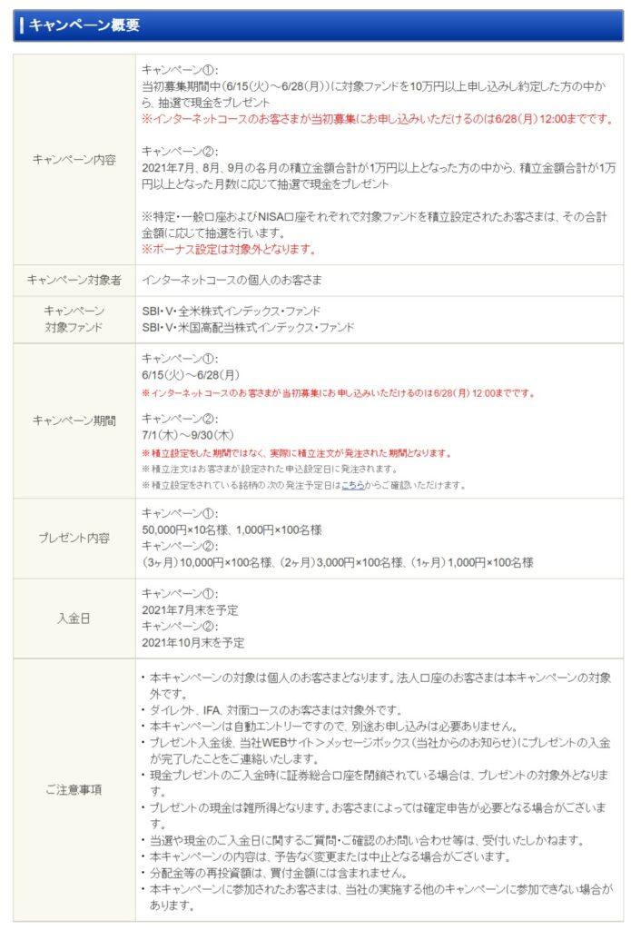 「SBI・Vシリーズ」新ファンド設定記念 現金プレゼントキャンペーン!2